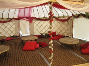 Inside the Human Library yurt